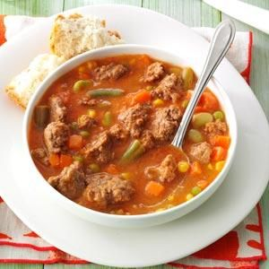 Tomato Hamburger Soup- the kids loved it and had 2 and 3 bowls. i used a 24 oz bag of frozen mixed veggies and that was plenty. served with some warmed up french bread