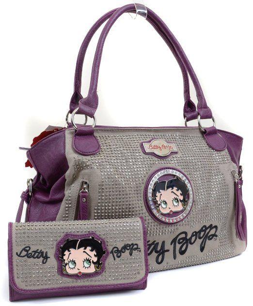 Betty Boop Purple Gray Color Block Rhinestone Detailed Handbag Wallet Set Clothing Bags Purses