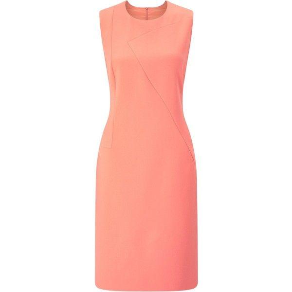 BOSS Demisana Sleeveless Dress, Light Pastel Red (£330) ❤ liked on Polyvore featuring dresses, red mini dress, red floor length dress, pastel maxi dress, knee length dresses and sleeved maxi dress