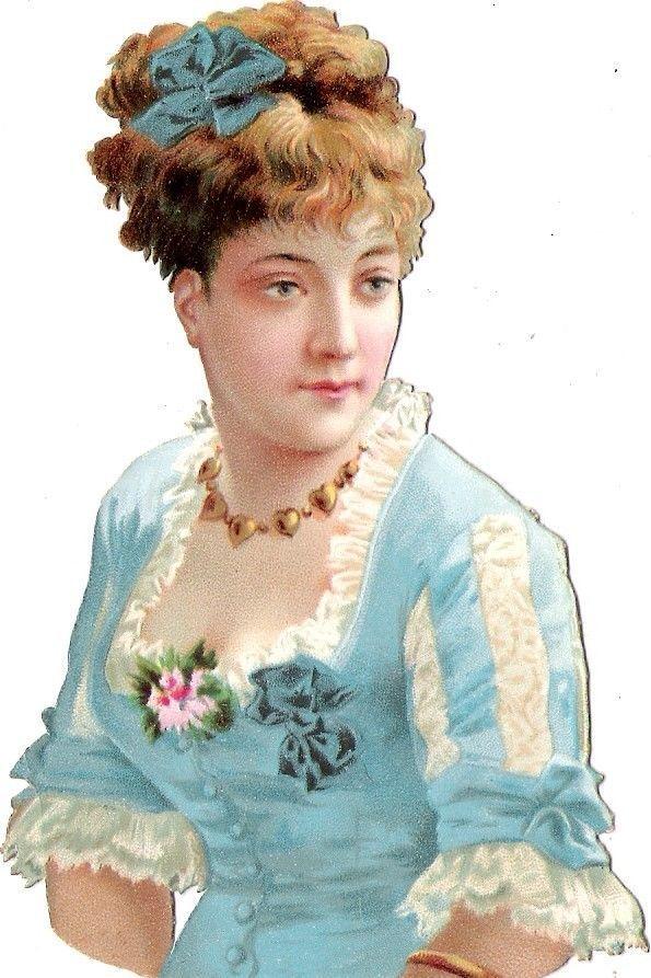 Oblaten Glanzbild scrap die cut chromo Lady Dame 11,5cm femme Frau portrait