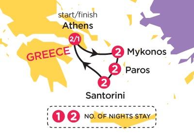 Map of Greek Island Hopper 2012