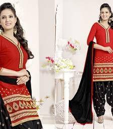 Buy Red embroidered cotton unstitched salwar with dupatta cotton-salwar-kameez online