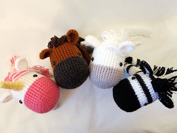 Equine Crochet PATTERN BUNDLE - Amigurumi Horses - amigurumi patterns, cute crochet horse, unicorn, zebra, pegasus softie,  horse plush, toy