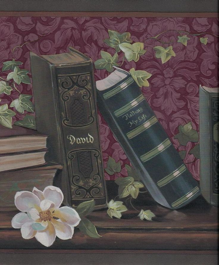 Victorian library books and magnolias wallpaper border