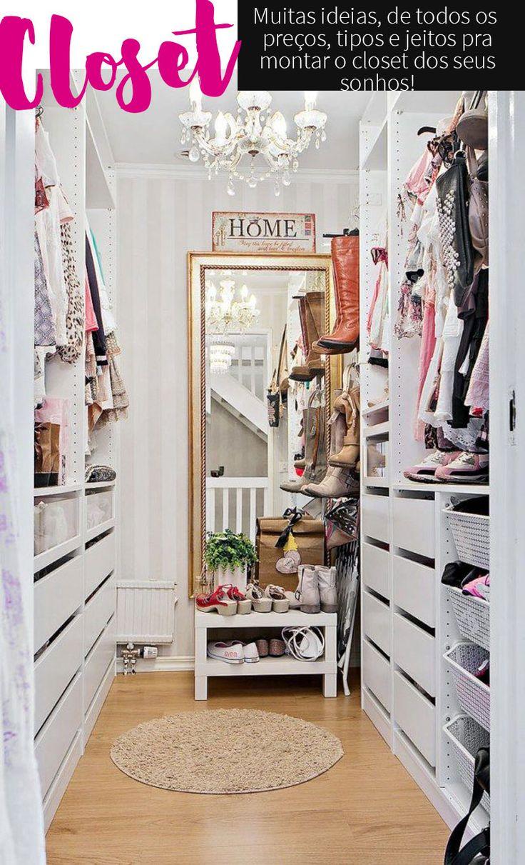 Closet: ideias e fotos de closet pequeno, closet no quarto, closets modernos, closet de aramado, planejado e modulado, e também de como fazer um closet!