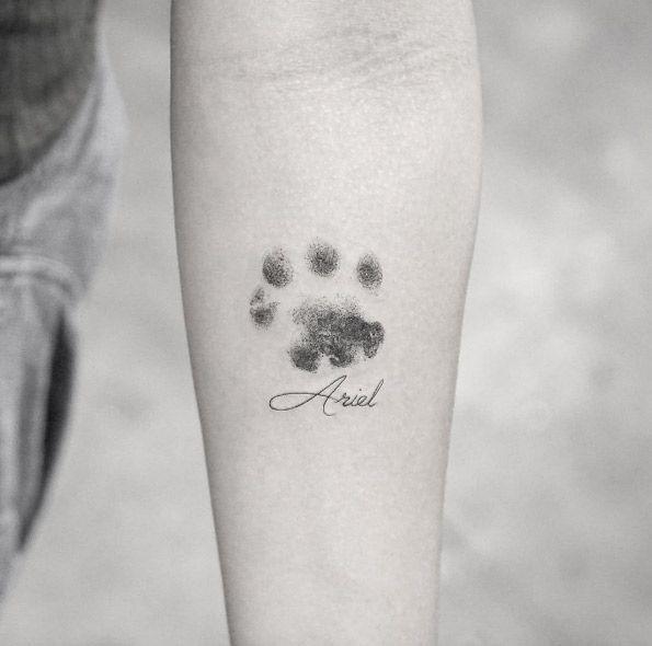 Dotwork paw print tattoo by Sanghyuk Ko