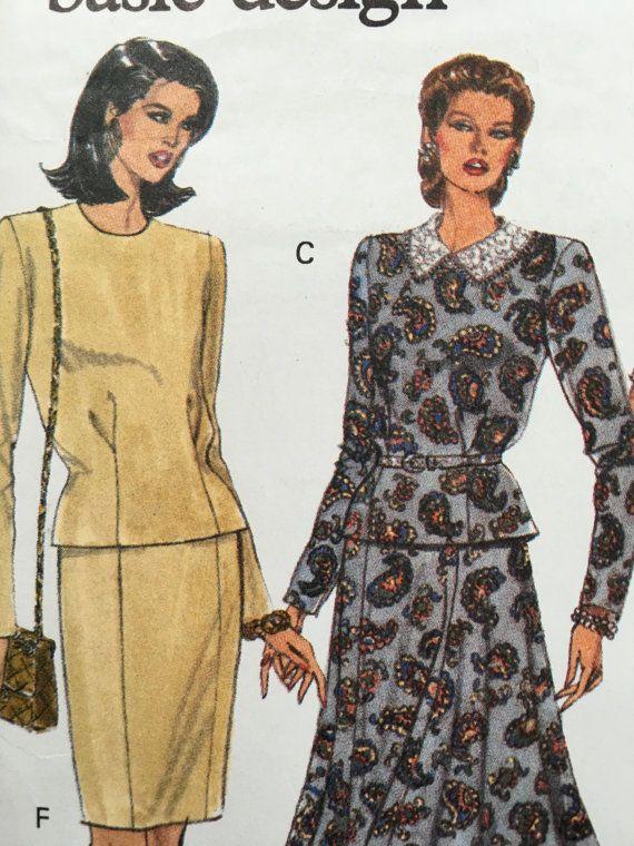 Elegant structured Size 6 8 10 UNCUT VOGUE 1940s inspired 1980s shoulder pads, power dressing,  Etsy weseatree patterns 1980s
