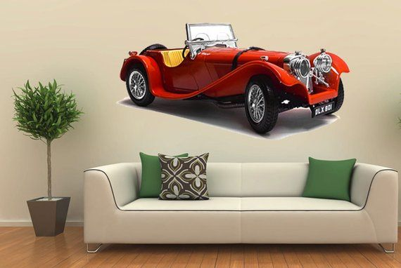 Vintage Red Sports Car Wall Art Vinyl Sticker Classic Racing Decal Mural