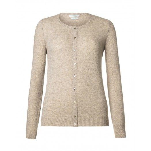 Cardigan girocollo, a maniche lunghe, slim fit, in pura lana vergine. Collo, polsi e fondo busto in costina.1002D5077 BEIGE