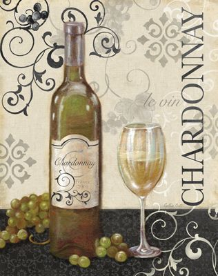 """Wine Swirl I"" by Cynthia Coulter - Wine Bottle & glass Vintage Art #Chardonnay ( le vin) #cCreams #cGreens"