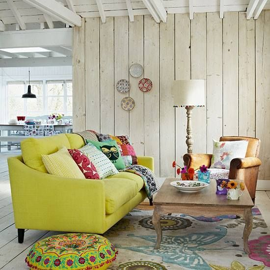 Cottage Style Living Room Walls | Rustic walls and ceiling. Cottage, farmhouse style. | Living Rooms