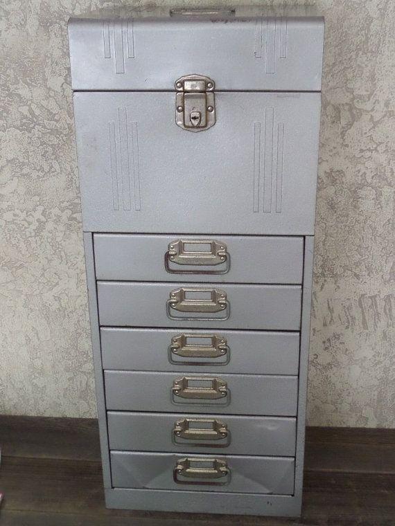 Vintage Acorn Industrial Metal File Box Cabinet Tool Box