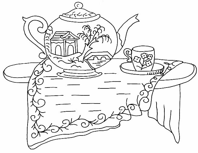 Red Work Tea Pot And Cup