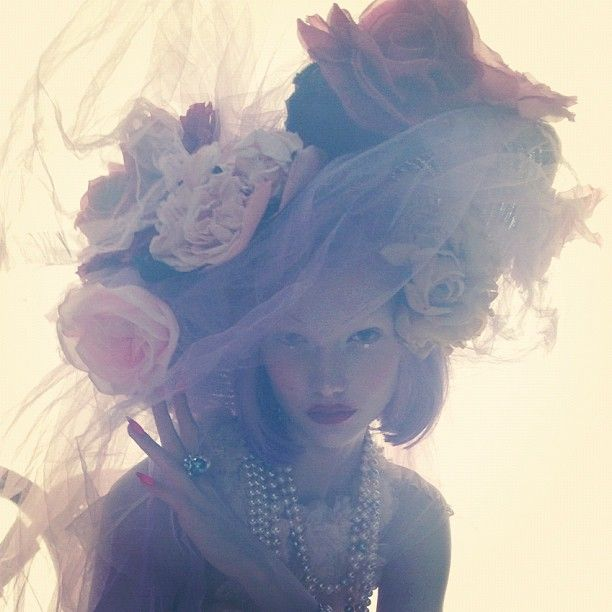 Karlie Kloss in Chanel photographed by Nick Knight for W Magazine's October issue. Backlit, fabric