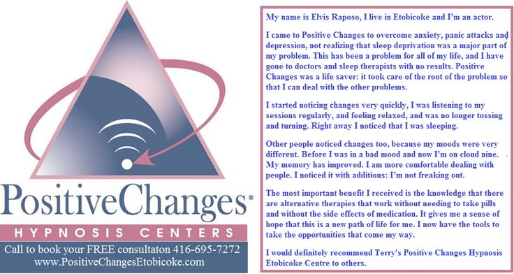When I first met Elvis he was a bag of nerves.After a few sessions with hypnosis he calmed right down and was able to focus again.  http://www.PositiveChangesEtobicoke.com