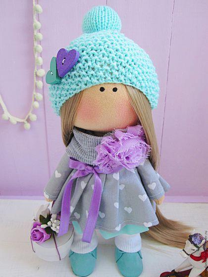 Куклы тыквоголовки ручной работы. Ярмарка Мастеров - ручная работа. Купить Нарядная куколка. Handmade. Сиреневый, кукла, тыквоголовка