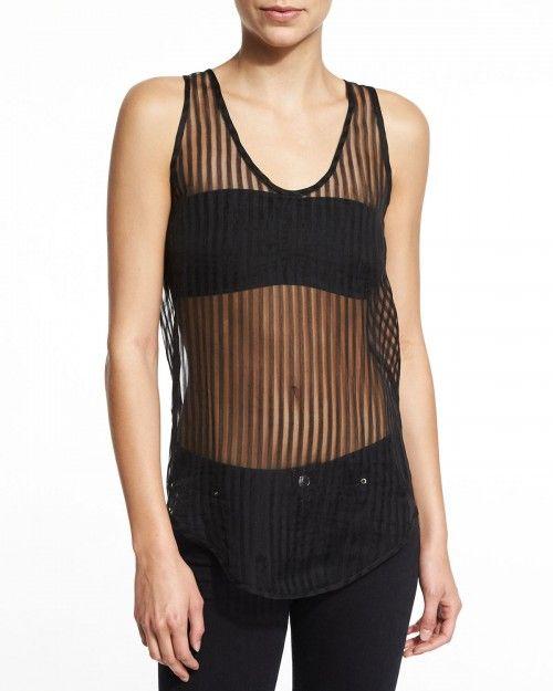 Iro+Sian+Striped+Sheer+Tank+Black+Women's+42+|+Top+and+Clothing