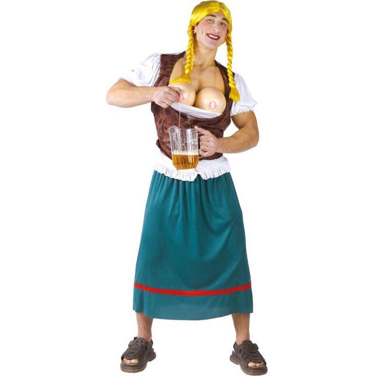 Ce costume de big bavaroise pour homme avec robinets se compose d'un haut, d'une jupe, d'un gilet, d'une perruque, d'un faux buste et d'un distributeur de boissons. Taille unique. Le haut correspond à la chemise blanche, il est associé à un gilet marron d
