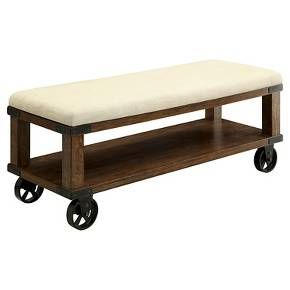 Veren Cushioned Castor Wheel Bench - Light Oak - Furniture of America : Target