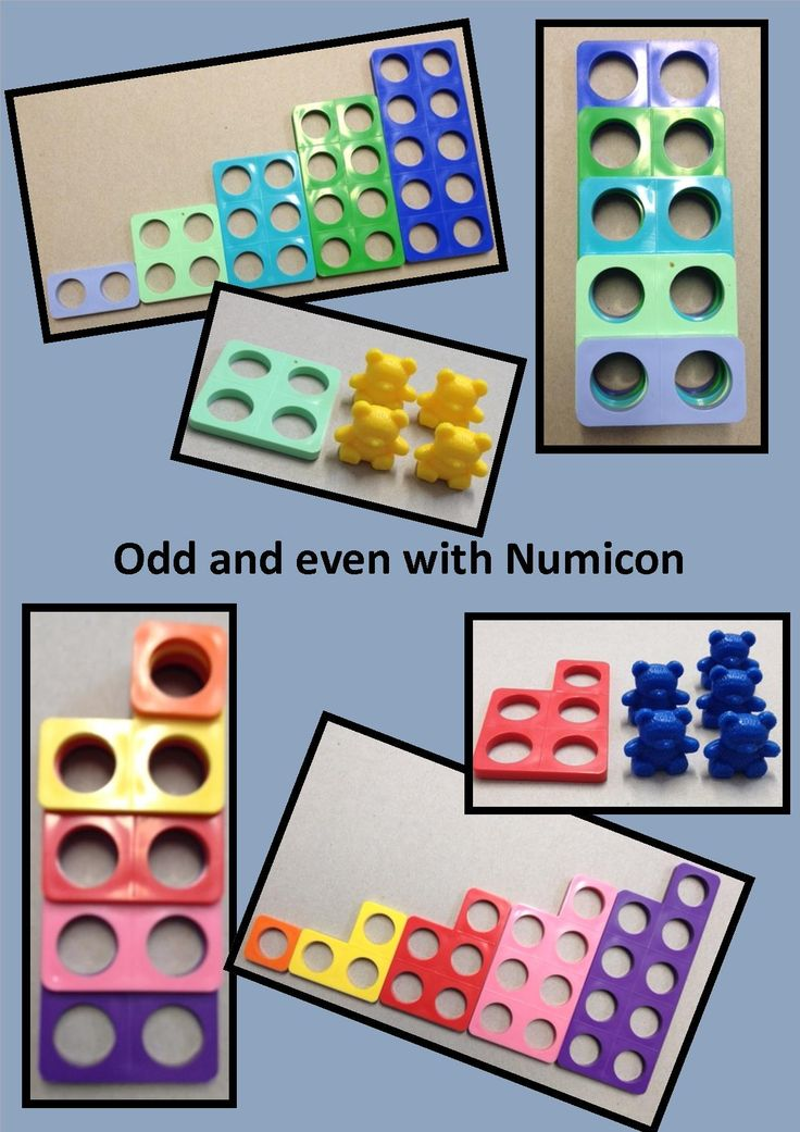 Odd and even with Numicon - laying pieces on top of one another to show pairs for even numbers and one left over for odd.
