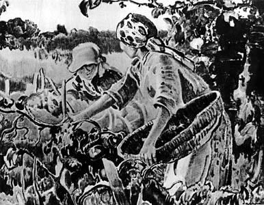APOLONIUSZ KĘDZIERSKI (1861-1939)  In the Garden, [c. 1930]  (Picking Tomatoes)  Watercolour on paper, ... x ...  Sign. b.r.: A. Kędzierski  Owned by Stanisława Fijałkowska-Kędzierska, the artist's wife, in Warsaw.  Lost in August 1944.  Negative MNW no. 227744; photo from repr.  WAR020351
