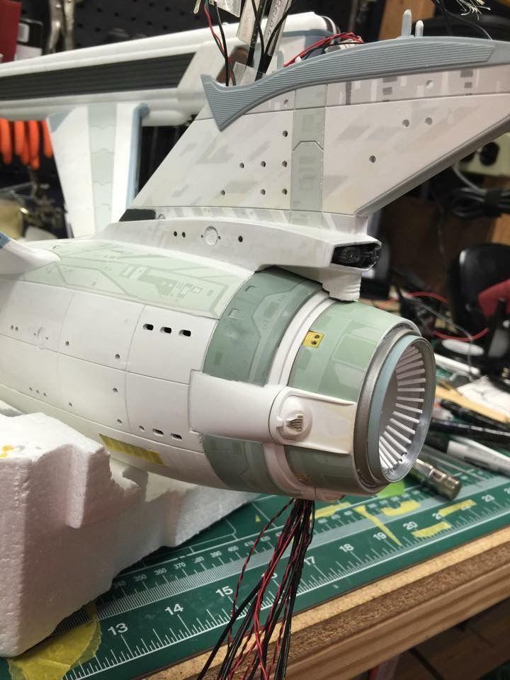 "scale model, work-in-progress.  Constitution-class starship, ""A"" era."