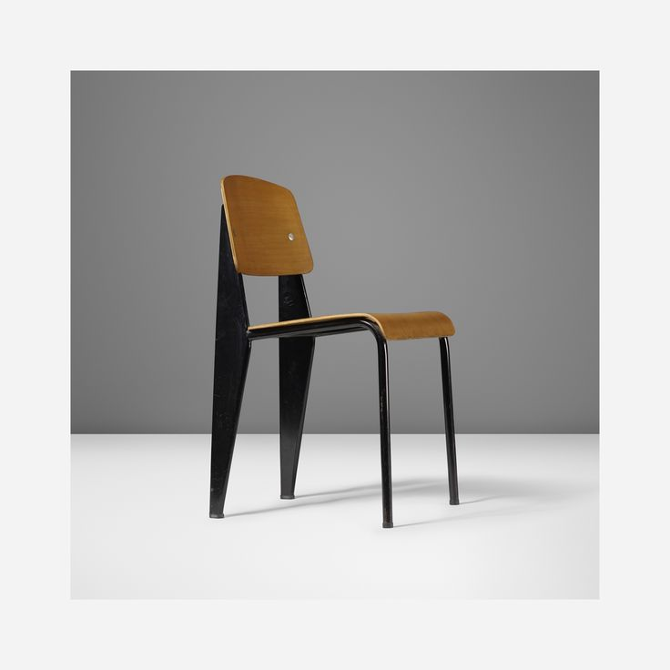 Lot 137: Jean  Prouvé. 'Semi-metal' chair, model no. 305. 1950, enameled steel, beech plywood, aluminum, rubber. 16¼ w x 19 d x 32 h in. result: $18,750. estimate: $5,000–7,000. Provenance: Michael Benevento, New York | Collection of Dimitri Levas