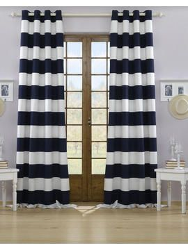 Vorhang Navy Beige Blau Weiß Strapazierfähig Wasserabweisend