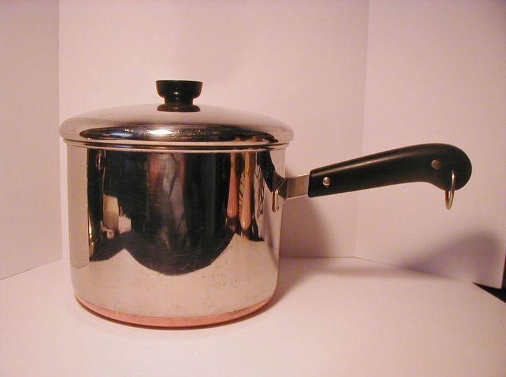 Vtg Revere Ware 5 Qt Sauce Pan Pot Copper Clad Bottom Stainless Steel Clinton IL