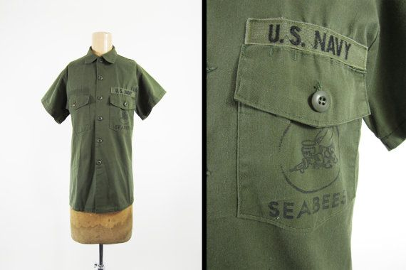 Vintage Sea Bees US Navy Shirt Military Green Olive Drab Short Sleeve - Medium
