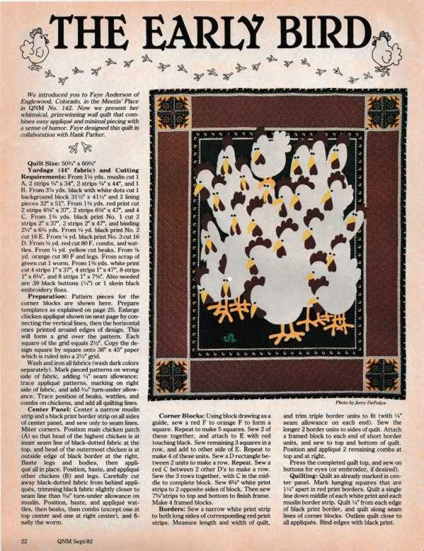 Early Bird Pattern From Quilt World Magazine 1982 Page 1