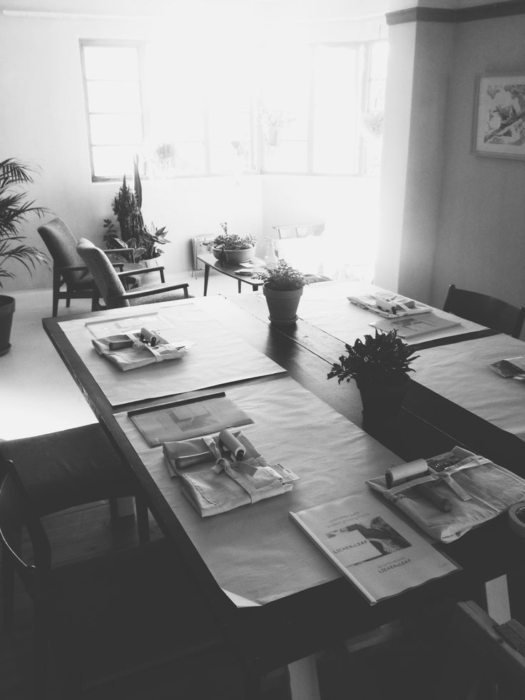 The calm before the storm at the Lichen & Leaf Block Printing workshop http://lichenandleaf.com/pages/workshops