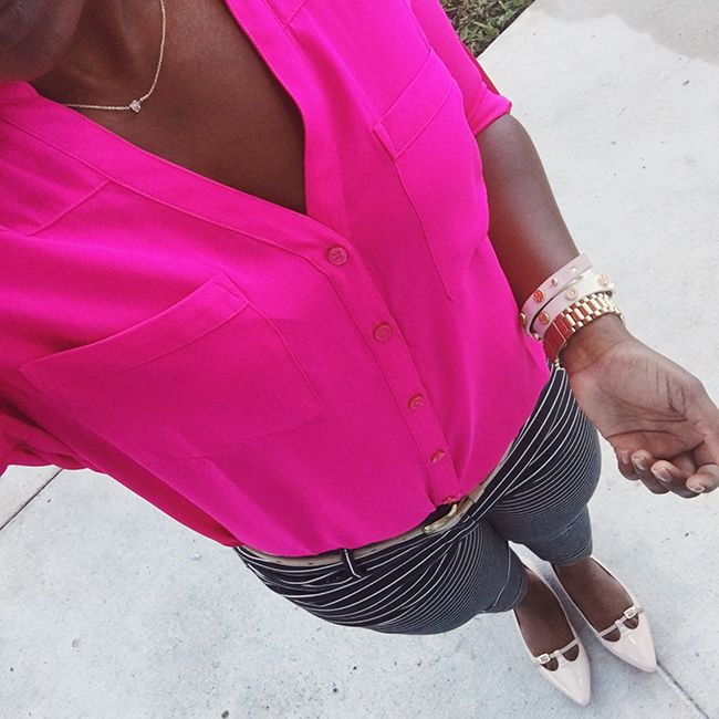 work outfit with stripes pants and pink shirt.