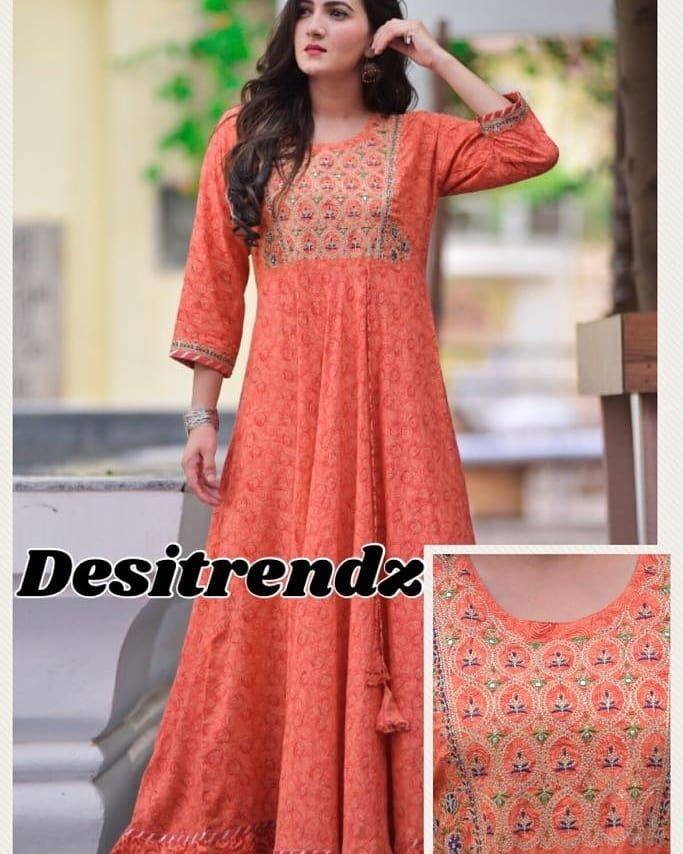 c2559fe7d854e Designer party wear stylish long one pcs in rayon fabric and emb work on  york and gheraSize 38 to 44Price  1550 ship