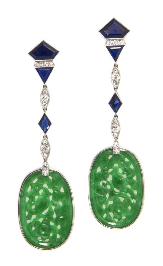 A Pair of Art Deco Platinum, Jade, Sapphire and Diamond Earrings,