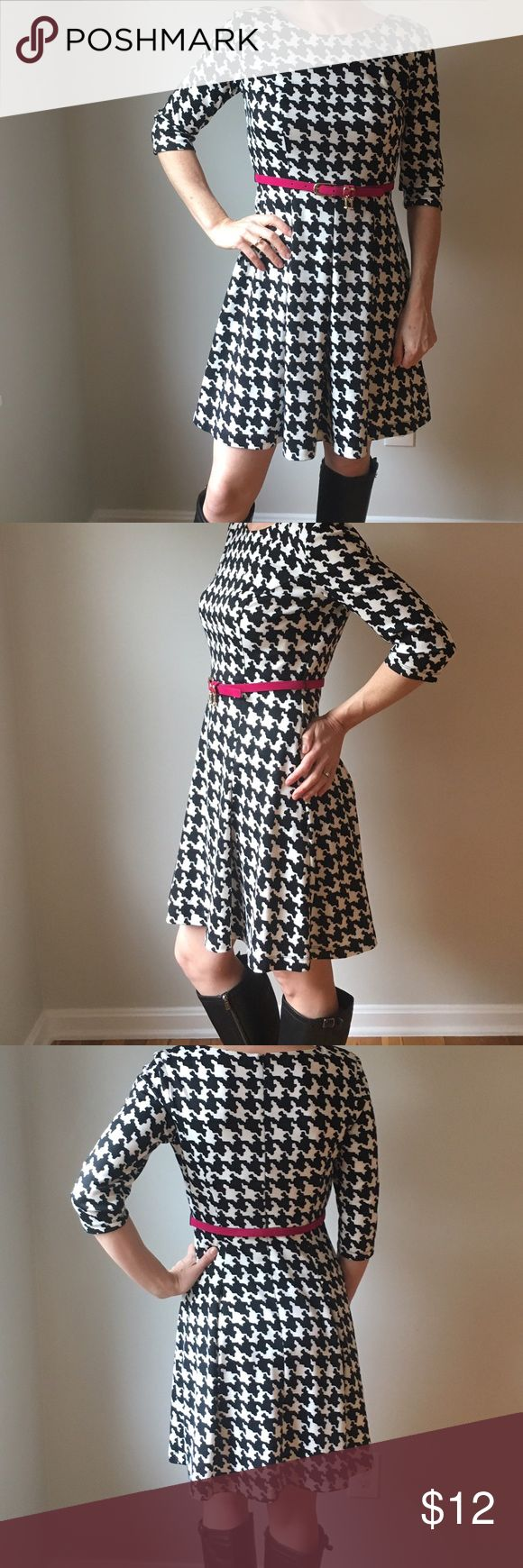 AGB mini dress AGB Petite mini A line dress in black and white print w/ pink accent belt. Size 6P. Slight pilling at both shoulders as shown in the photos. AGB Dresses Mini