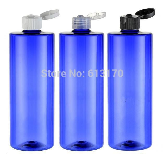 Бесплатная доставка 500 мл Fllip колпачок бутылки синий пэт пустые бутылки шампунь косметическая контейнером многоразового Makup бутылки 10 шт./лот