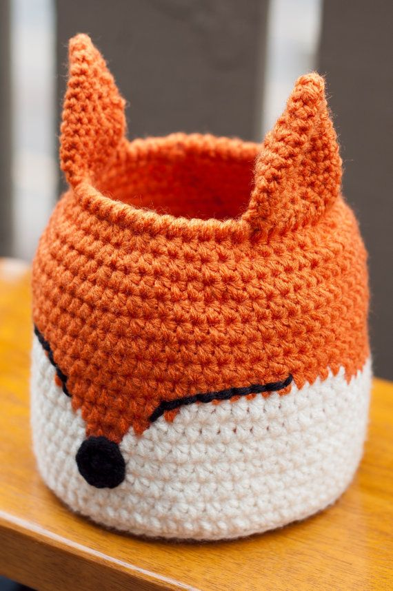 Crochet Fox Basket by HookedOtaku on Etsy