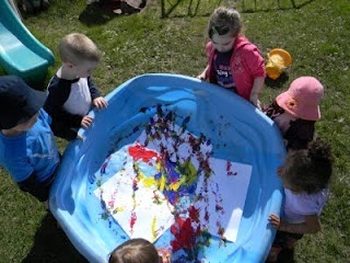 Pool Painting - great social activity for developing cooperation Standard: the child will understand and respond to the emotions of others.