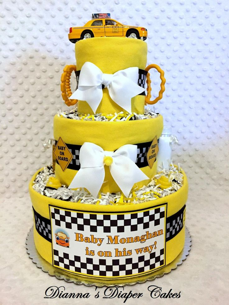 42 best nyc theme baby shower ideas images on pinterest new york taxi baby diaper cake shower gift or centerpiece by diannas diaper cakes custom order negle Gallery