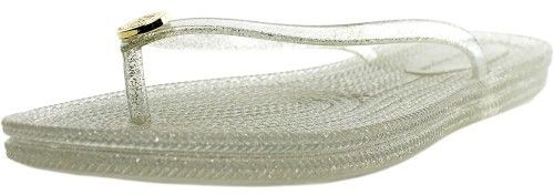 Tommy Hilfiger Girly-X Women US 8 Silver Flip Flop Sandal