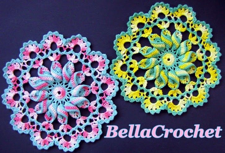 The Pretty Pinwheel Doily is small and works up quickly, but the pinwheel gives it an unusual and whimsical style all its own. I think it is a great design for experimenting with different color combinations. I hope you will enjoy it!