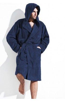 Peignoir Homme Model Iwo Bleu Marine Bleu L&L collection 14847