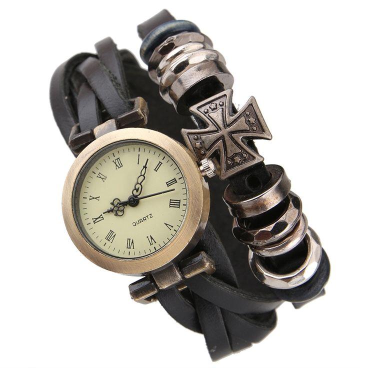 Gnova Platinum Women Genuine Leather Watch Triple Bracelet Watch Cross Charm Wristwatch Fashion Reloj Para Dama B021 #Affiliate