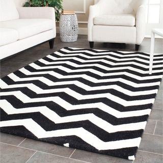 Safavieh Handmade Moroccan Chatham Chevron Black/ Ivory Wool Rug (6' x 9') | Overstock™ Shopping - Great Deals on Safavieh 5x8 - 6x9 Rugs $214.19