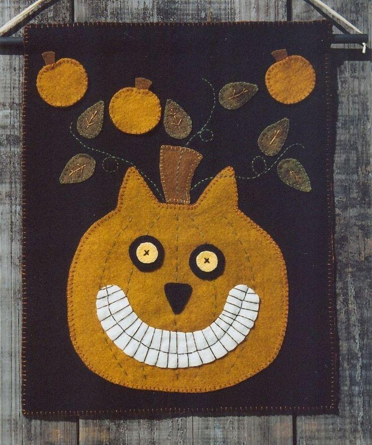 primitive wool applique penny rug pattern pumpkins cat halloween new - Halloween Rugs