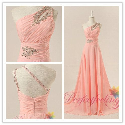 2014 cheap bead sexy pink Sleeveless A line one shoulder chiffon unique prom dresses long formal evening dress/ party dress / women dress