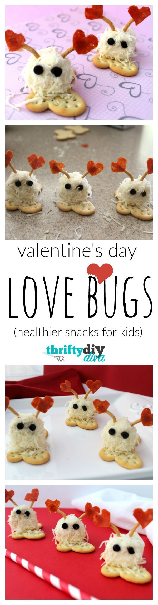 """We had such a fun time making these little Valentine's Day Mini Cheese Ball Love Bugs Snacks and I hope your kids enjoy them as well! These Mini Cheese Ball Love Bugs would be perfect for your kids Valentine's Day class party, and hey, way better than those sugar loaded chocolates, right? And these are so cute and fun to make, you'll have your kids coming up with other food """"creatures"""" to make, too…"""