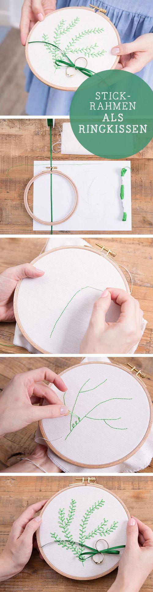 DIY-Tutorial: Ringkissen aus Stickrahmen herstellen, besticken / diy tutorial: embroidery ring cushion, wedding diy via DaWanda.com