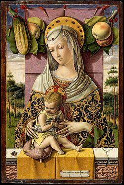 Carlo Crivelli - La Madonna Lenti o Bache è un dipinto a tempera e oro su tavola (37,8x25,4 cm) di Carlo Crivelli, databile al 1472-1473 circa e conservato nel Metropolitan Museum di New York. È firmato OPVS KAROLI CRIVELLI VENETI.